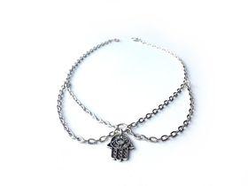 Lakota Inspirations Silver Hamsa Hand Chain Choker