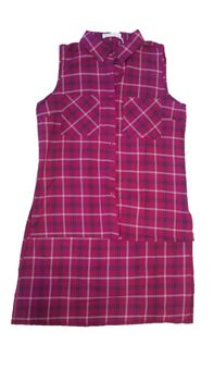The Change Room Tartan Long-Back Top - Red