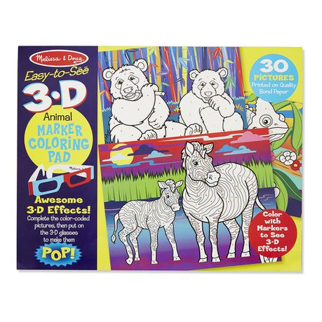 Melissa & Doug Animals 3D Colouring In Book | Buy Online in South ...