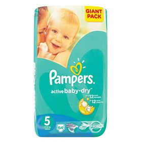 Pampers - Active Baby 64 Nappies - Size 5 Giant Pack