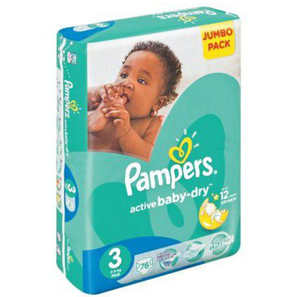 Pampers Active Baby 76 Nappies Size 3 Jumbo Pack Buy