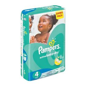 Pampers - Active Baby 66 Nappies - Size 4 Jumbo Pack