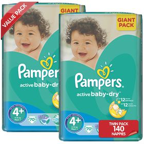 Pampers - Active Baby 2 x 70 Nappies - Size 4+ Twin Giant Pack