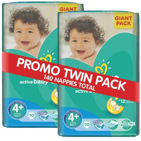 Pampers - Active Baby 2 x 70 Nappies - Size 4+