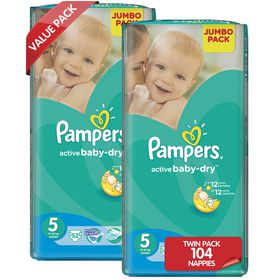 Pampers - Active Baby 2 x 52 Nappies - Size 5 Twin Jumbo Pack