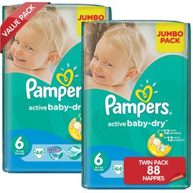 Pampers - Active Baby Nappies - Size 6 - Jumbo Twin Pack (2 x 44 count)