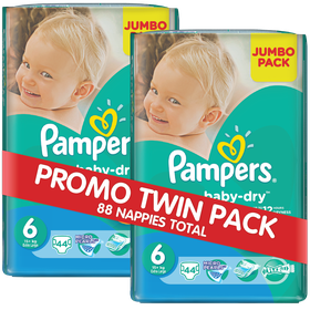 Pampers - Active Baby 2 x 44 Nappies - Size 6 Twin Jumbo Pack