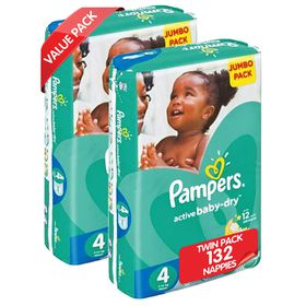 Pampers - Active Baby Nappies - Size 4 - Jumbo Twin Pack (2 x 66 count)
