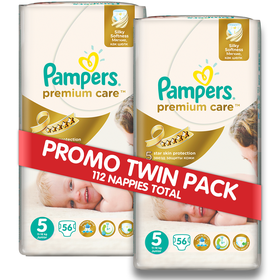 Pampers - Premium Care 2 x 56 Nappies - Size 5 Twin Jumbo Pack