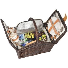 Eco - 2 Person Woven Picnic Basket - Brown