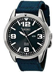 Seiko Men's SNE329 Sport Solar-Powered Stainless Steel Watch with Blue Nylon Band (parallel import)