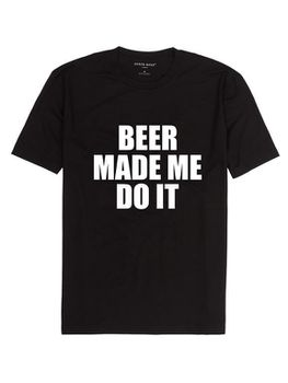 Noveltees Beer Made Me Do it Men's Short Sleeve T-Shirt - Black