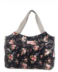 Notting Hill side Pocket Handle Handbag - Black Floral