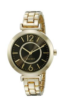 Nine West Women's NW/1768BKGB Glitter-Accented Gold-Tone Bracelet Watch (Parallel Import)