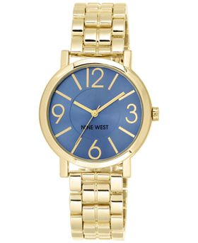 Nine West Women's NW/1694BLGB Blue Sunray Dial Gold-Tone Bracelet Watch (Parallel Import)