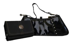 Fino Sleek Studded patent  Leather hand-held bag/shoulder bag + Pu Leather Purse Set Sk6002/Gz/33-093 - Black