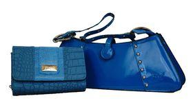 Fino Sleek Studded patent  Leather hand-held bag/shoulder bag+ Croc Leather Purse Set Sk6002/Gz/975-093/856 - Blue