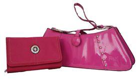Fino Sleek Studded patent  Leather hand-held bag/shoulder bag +Pu Leather Purse Set Sk6002/Gz/33-093 - Pink