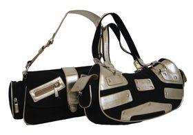 Fino Canvas & Metallic 2 Tone Shoulder Bag Value Pack A2436Ey-Jm/A2437Ey-Jm - Black & Gold