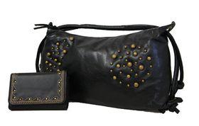 Fino Soft Pu Studded Handbag+Studded Embroided Pu Purse Set Sk801/Pu,M5-093/805 - Black