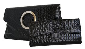 Fino Crocodile Patent Leather cross body/envelop bag + Crocodile Patent Leather Purse Set (Rf06/923+B310/Cro