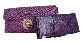 Fino Crocodile Patent Leather Clutch Bag + Ladies Heart Crocodile Patent Leather Material Purse Set (Rf07/923+Ht310/1004 - Purple