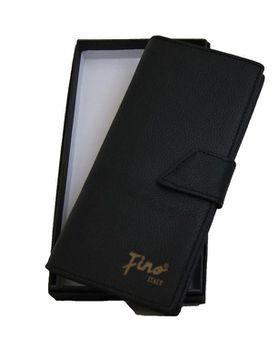 Fino Unisex Geniune Leather Bifold Wallet with Sim Card Holder  In Gift Box Skp-P1407 - Black