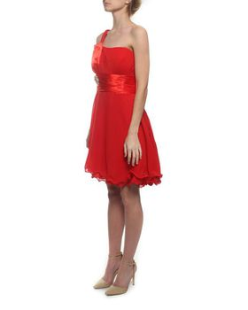 Snow White Sparkle Waist One-Shoulder Cocktail Evening Dress - Red