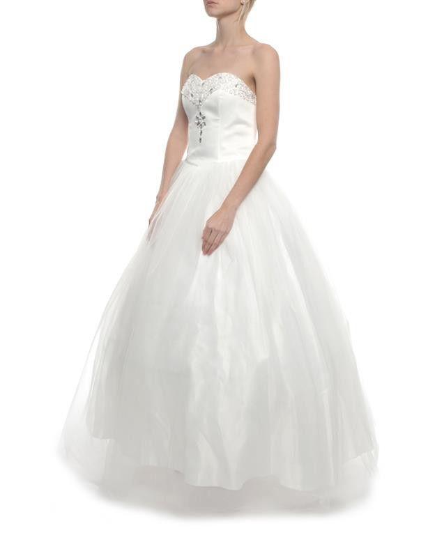 Snow White Crystal Sweetheart Princess Wedding Gown - White | Buy ...