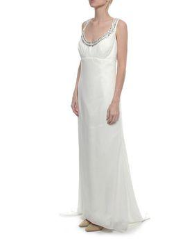 Snow White Sparkle Neckline Wedding Gown - White
