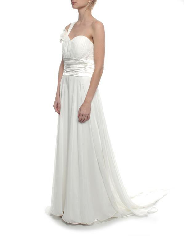 Snow White Grecian-style Cross Shoulder Wedding Gown - White | Buy ...