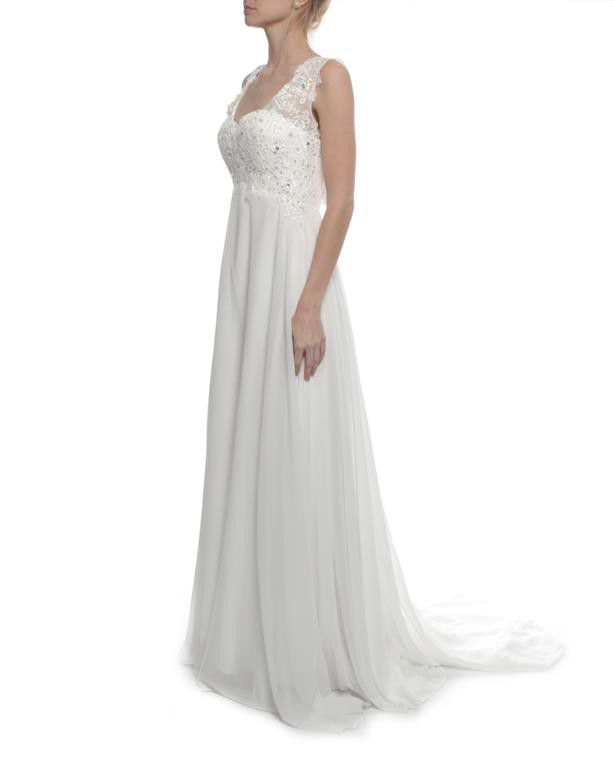 Snow White Lace Plunging Back Wedding Gown | Buy Online in South ...