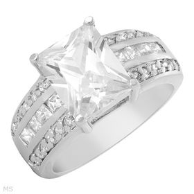 Miss Jewels 3.00ct(CENT) Emerald Cut Clear Cubic Zirconia Dress Ring in 925 Sterling Silver