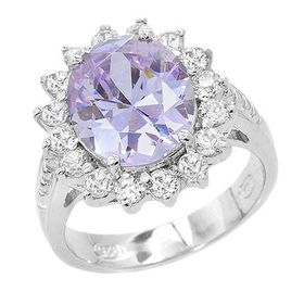 Miss Jewels 8.25ctw(CENT) Lavender Purple and Clear Cubic Zirconia Dress Ring in 925 Sterling Silver-(SizeT½ / 10 / 19.8mm inside diameter)