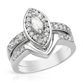 Miss Jewels 0.75ctw(CENT) Marquise Cubic Zirconia 2- Piece Wedding Set in 925 Sterling Silver