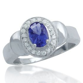Miss Jewels 1.04ctw Sapphire Blue and Clear CZ Dress Ring in 925 Sterling Silver