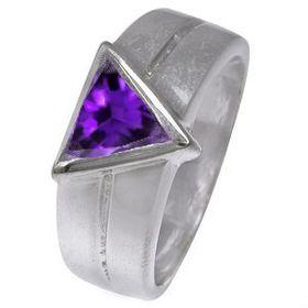 Miss Jewels 2.00ctw Amethyst Trillion Cut Cubic Zirconia Wedding Band in 925 Sterling Silver