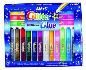 Amos Glitter Glue Variety Pack - 18 Colours