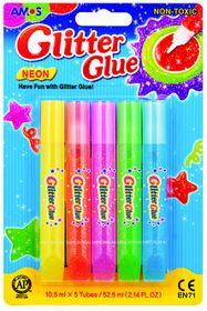 Amos Neon Glitter Glue - 5 Colours
