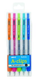 Amos A-clips 0.5mm Gel Pens (Pouch of 5)