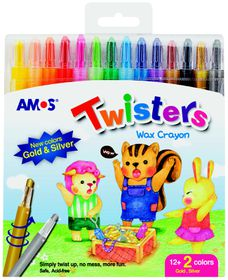 Amos 14 Twisters Rectractable Wax Crayons