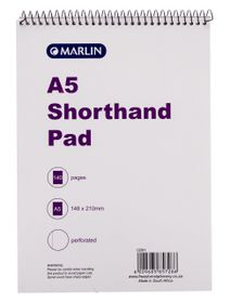 Marlin A5 140 Page Shorthand Pad (12 Pack)