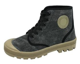 Fashion Canvas Hiking Boots in Washed Black