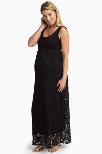 Black lace maternity maxi dress