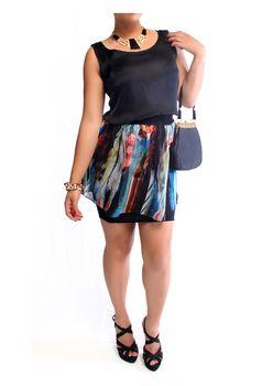 Urbane Whirlwind Skirt - Colourful With Black Base