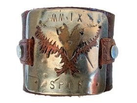 ROK Armo Band Wristband - The Imperial Flight Design (Antique) - Antique Brown Strap