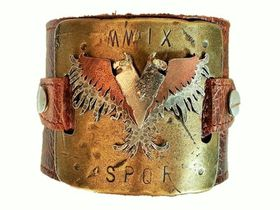 ROK Armo Band Wristband - The Imperial Flight Design (Brass) - Antique Brown Strap