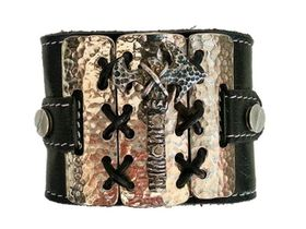 ROK Armo Band Wristband - The Gloss Shackled Hammer Design (Gloss Metal Bass with Antiqued Hammer) - Black Strap