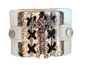 ROK Armo Band Wristband - The Gloss Shackled Hammer Design (Gloss Metal Bass with Antiqued Hammer) - White Strap