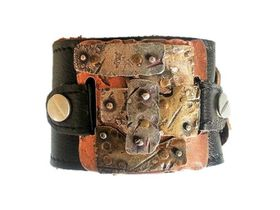 ROK Small Armo Band Wristband -The Slash Coat Design (Copper Base ,Brass , Copper Silver Metals ) - Black